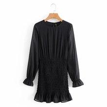 Dress Female Ruffle Hem O-Neck Vestido Long-Sleeve Chiffon Mini Casual Women Elastic