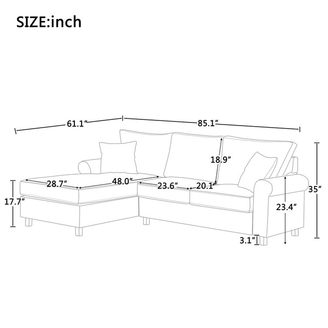 Nordic L Shaped Sectional Sofa Couch  2