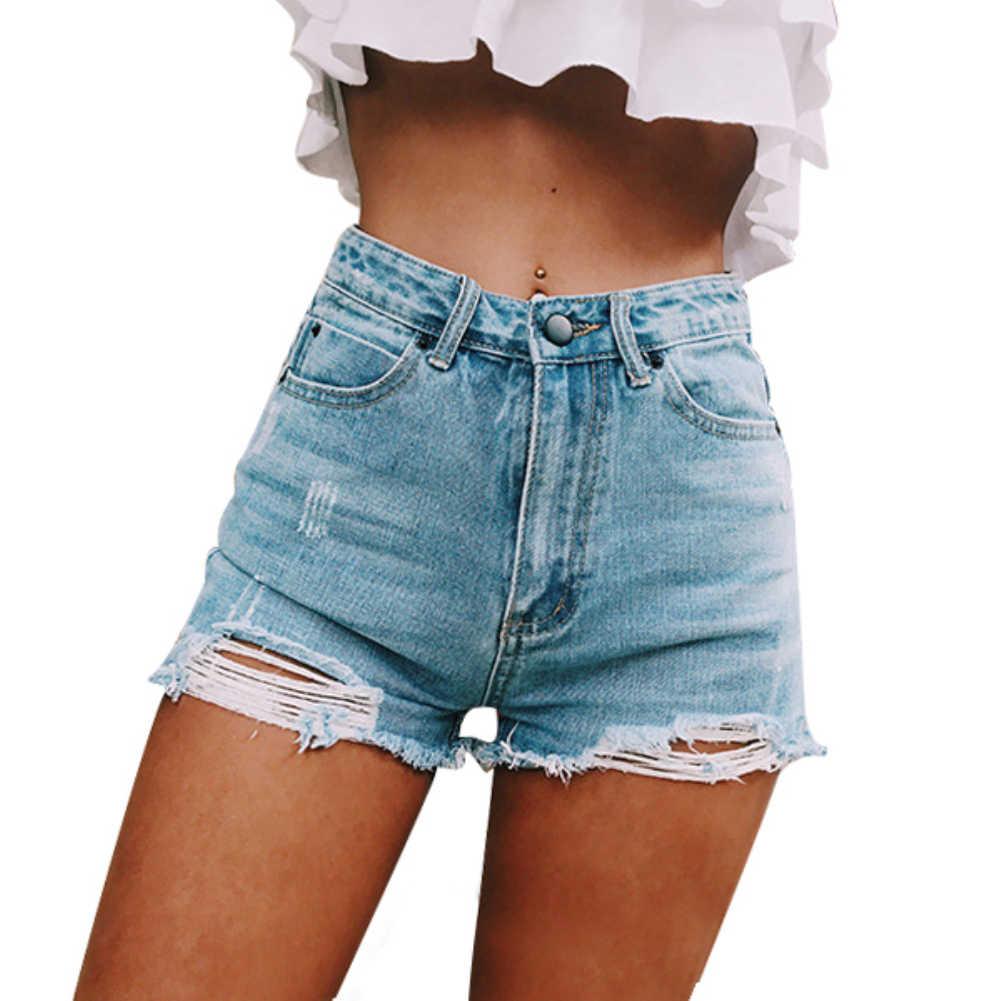 Moda kobieta zgrywanie denne postrzępione dziura wysokiej talii spodenki jeansowe letnie kobiety pani na co dzień luźne Streetwear dżinsy gorące spodnie z zamkiem błyskawicznym
