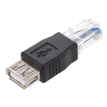 цена на SODIAL(R) 2 Pieces ethernet RJ45 male to USB female connector converter adapter +Free Cable Tie