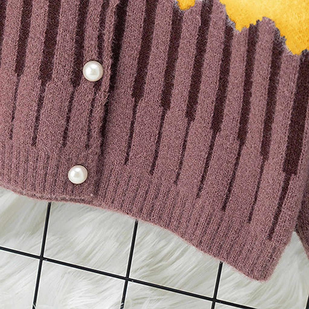 פעוטות בייבי בנות פסים חורף חם סוודר תינוקות כדור טלאים לסרוג סרוגה מעיל ילדי ילדה פנינת כפתור אופנה להאריך ימים יותר