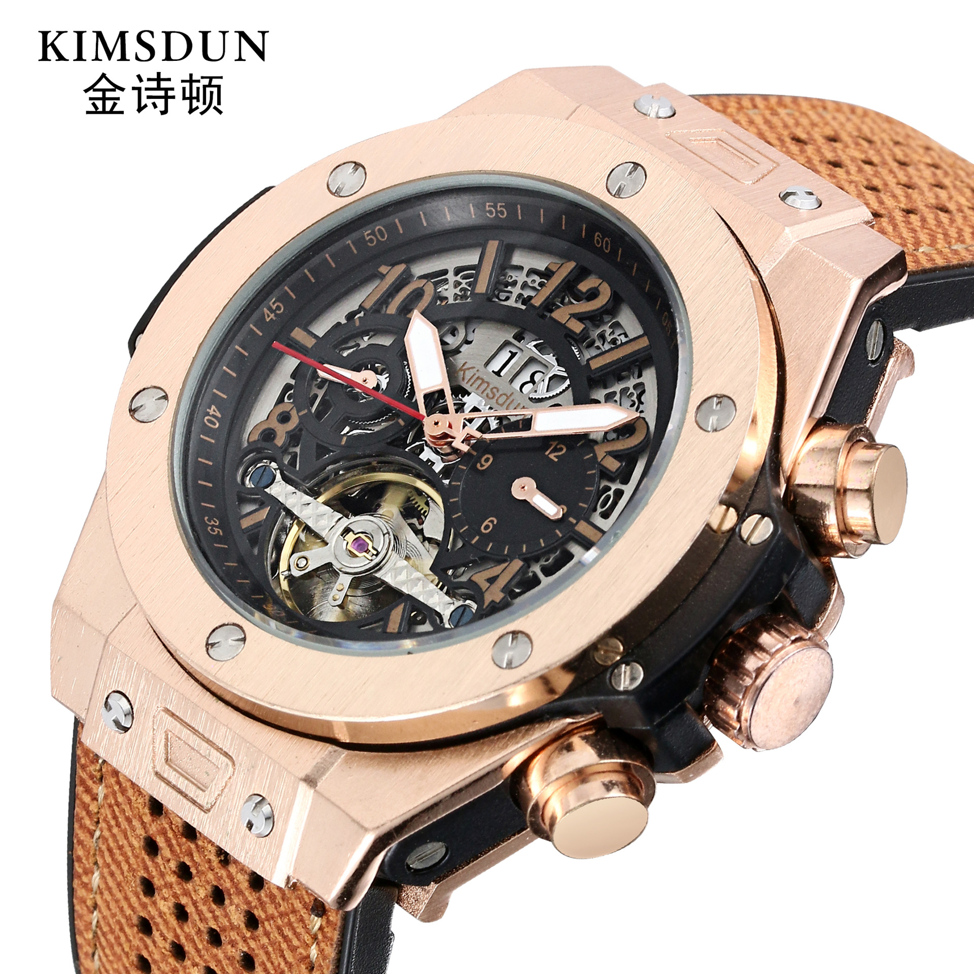 Brand High Quality  Men Watches Automatic Mechanical Watch  Sport Clock Leather Casual Business Retro Wristwatch Relojes Hombre