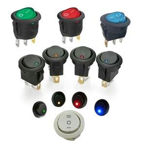 1PCS 12V SPST Switch LED Practical Dot Light Car Boat Round Rocker ON/OFF AC 6A/125V 3A/250V 4 Colors High Quality