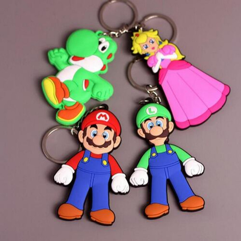 Colorfull Super Mario Bros Model Keychain Couple Pendant Key Chain Gift For Lovers Young Girl Favor Sports Souvenirs Gift
