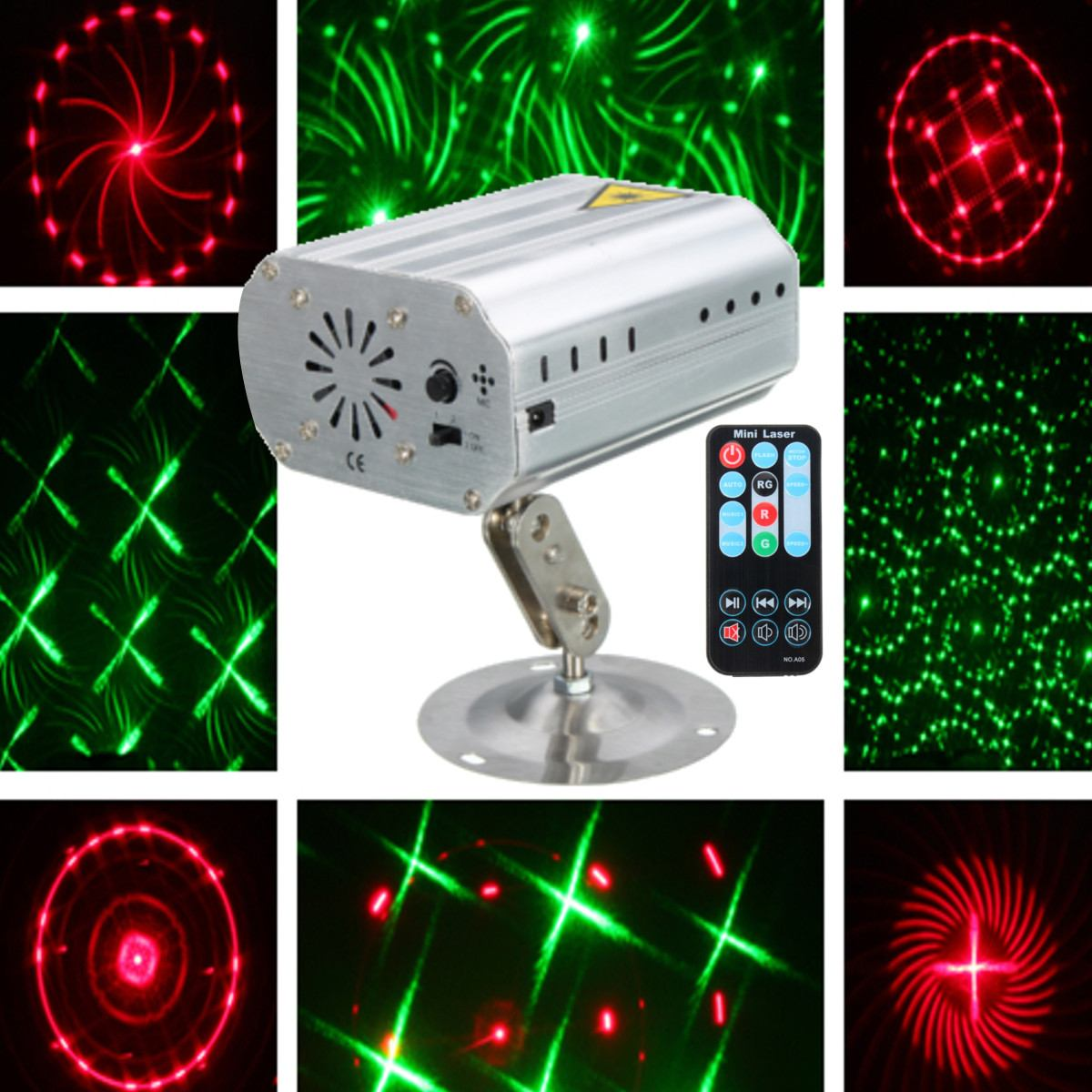 Mini 2in1 Pattern Effect Whirlwind Laser Projector  Disco DJ Club Bar KTV Family Party Light Show With Remote Control