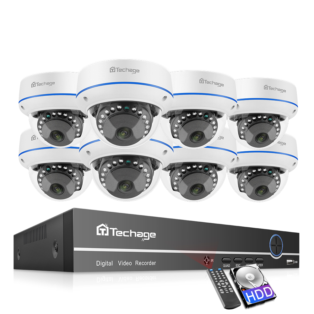 Techage H.265 8CH 1080P POE NVR Kit Sicherheit Kamera System 2,0 MP HD Dome CCTV POE Kamera IR Nacht vision Video Überwachung Set