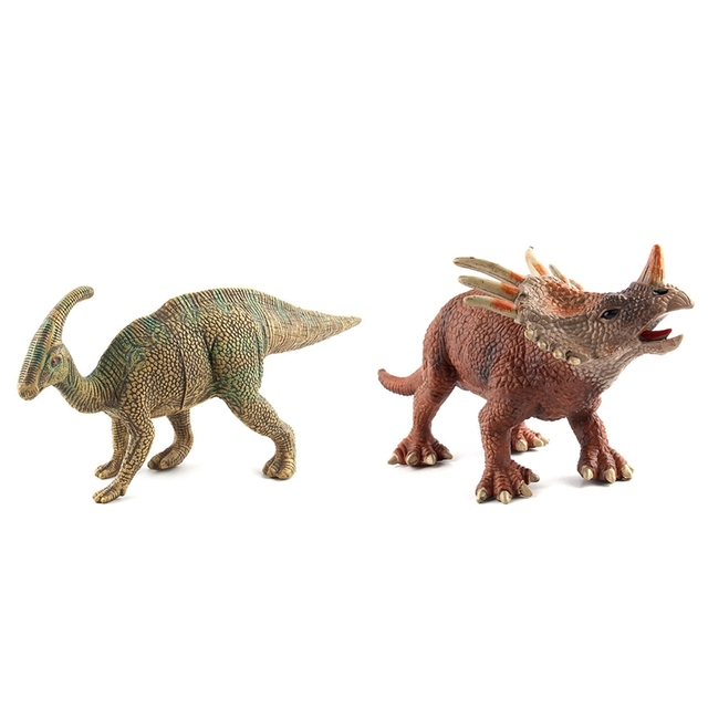 2 Pcs Big Size Wild Life Dinosaur Toy Plastic Play Toys Dinosaur Model Action Figures Kids Boy Gift Green & Brown