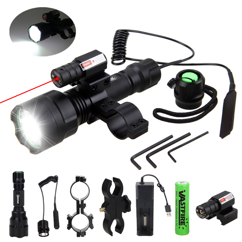 200 Yards Tactical Hunting Flashlight C8 LED Rifle Gun Light Laser Dot Sight Scope Switch 2 20mm Rail Barrel Mount 18650 Charger