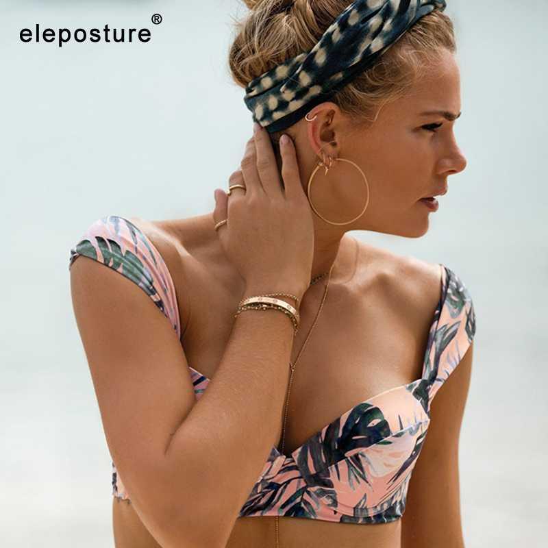 2019 Sexy feuille imprimer maillot de bain Bikini pour femme maillot de bain Push Up Bikini ensemble évider maillots de bain été plage porter maillot de bain