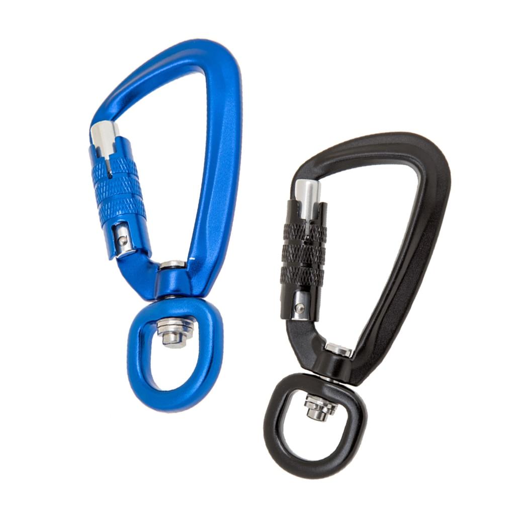 500KG Auto Locking Carabiner Rotating Ring Outdoor Keychain Hook tool Black
