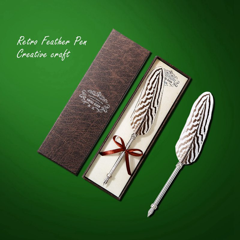 Creative Craft Vintage Feather Pen Vintage Engraved Metal Feather Pen Signature Gift European Feather Pen Memorial Set