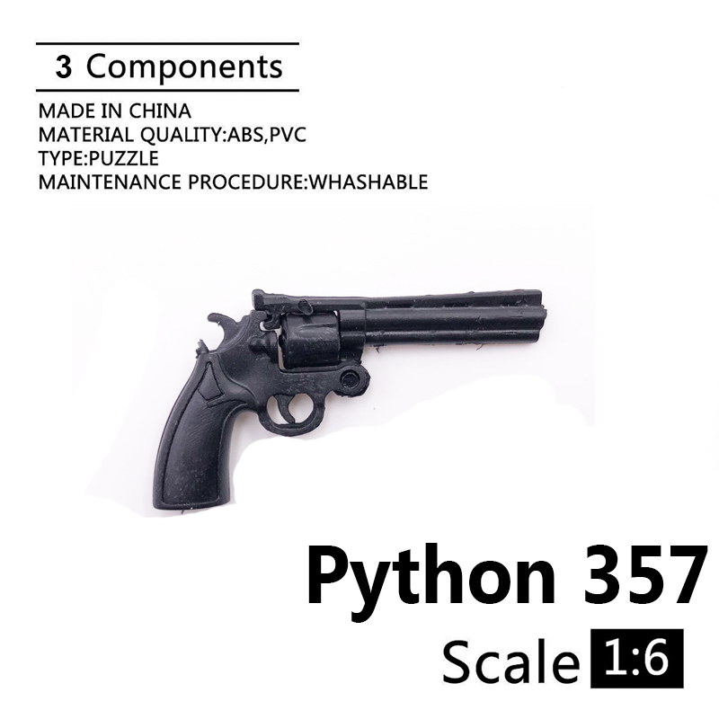 "1:6 Cole Python 357 Revolver 4D Gun Model For 12"" Action Figure Plastic Black Soldier Weapon Accessory"