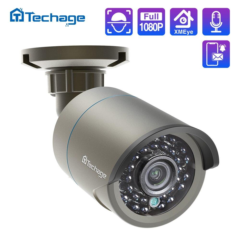 Techage H.265 1080P Audio Sound POE IP Kamera 2MP Wasserdichte Outdoor Video CCTV Sicherheit Surveillance ONVIF für POE NVR system