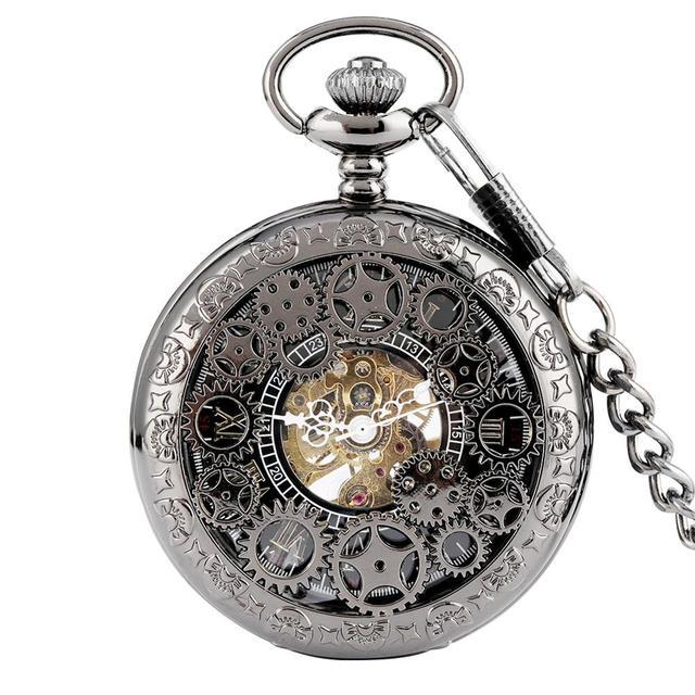 הגעה חדשה מעולה הילוך גלגל חלול שעון כיס מכאני Fob שעונים יד רוח מכירה לוהטת גברים נשים מתנה עם שרשרת שעון