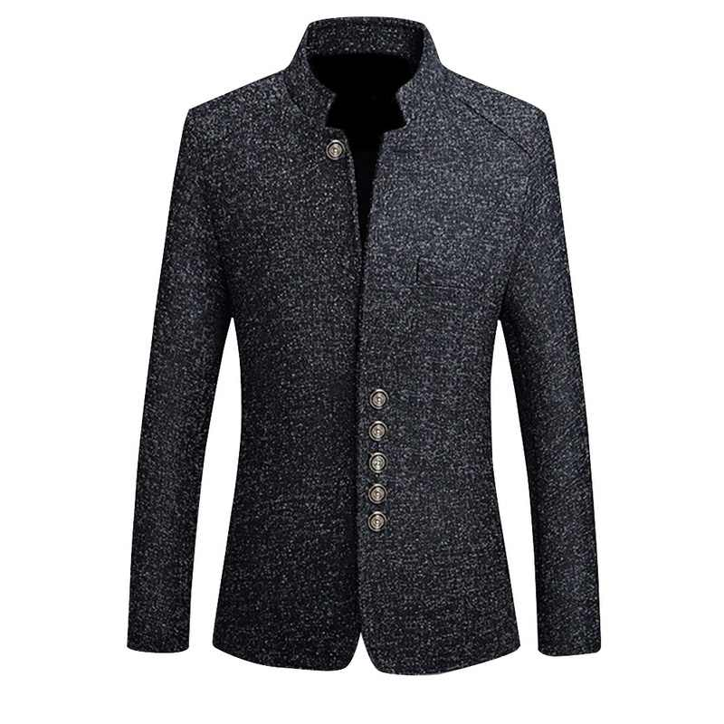 SHUJIN Mens Vintage Blazer Coats Chinese Style Business Dress Blazers Casual Stand Collar Jackets Male Slim Fit Suit Jacket