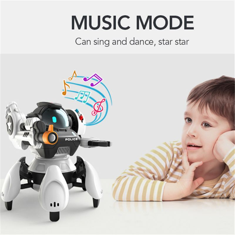 2.4GHz Intelligent Six Claw Remote Control RC Robot 700mah Children Boy Interactive Space Police RC Children Electric Robot Toys