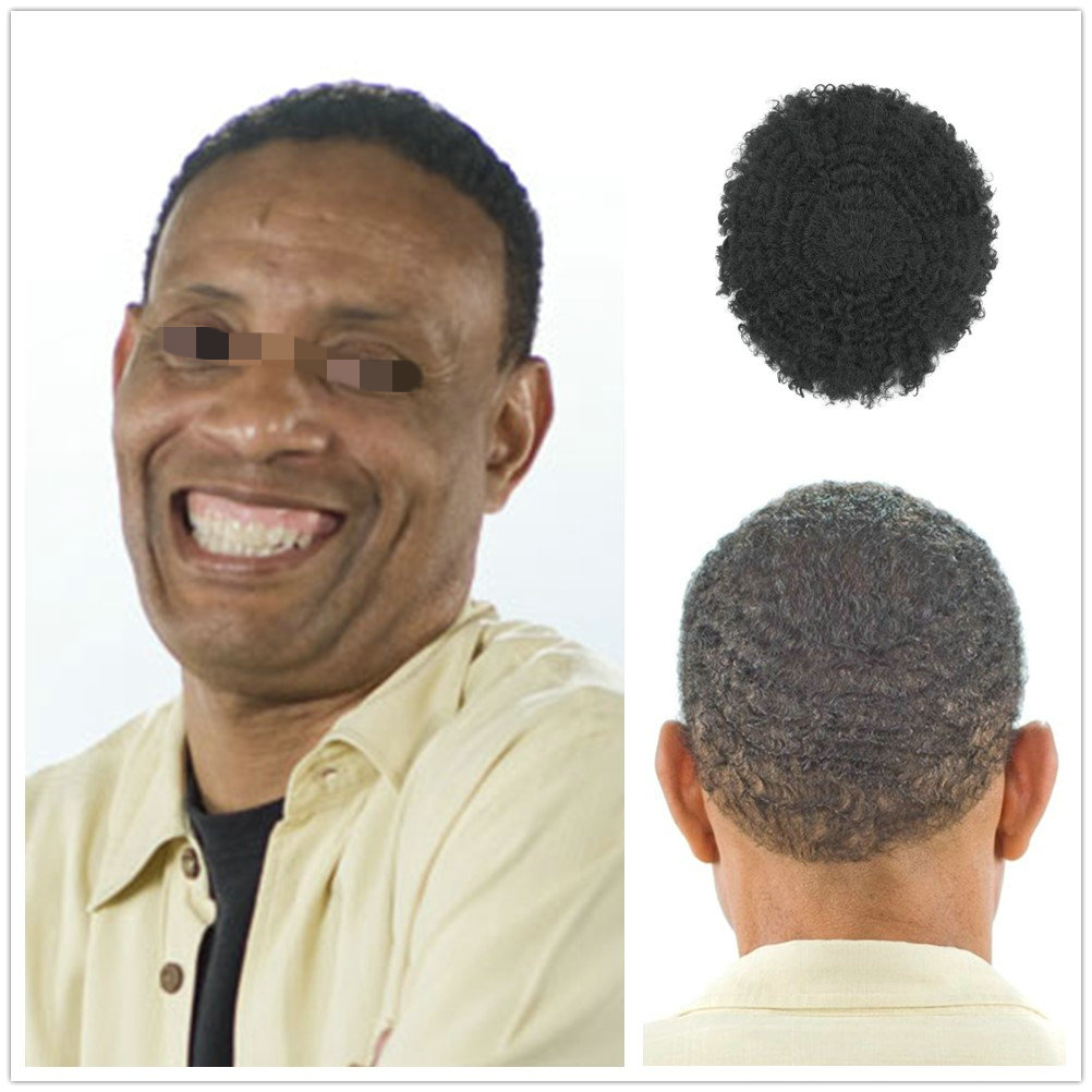 Hstonir Hairpiece For Men Kinky Curl Stock Toupee Real Remy Hair System