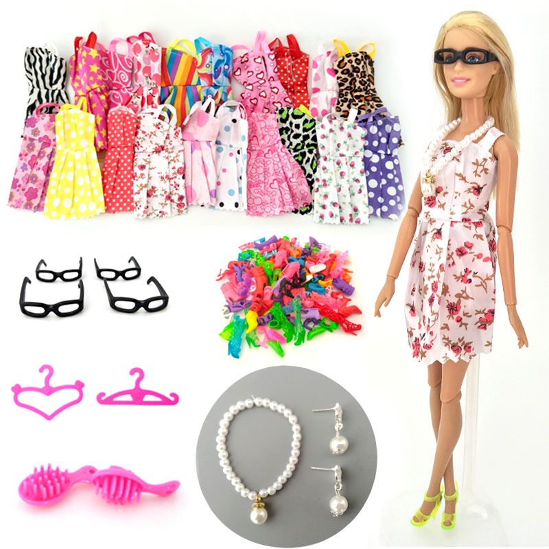 <font><b>30</b></font> items/set Doll Accessories = 10 Pairs <font><b>Shoes</b></font> & 10 Fashion Dresses For Barbie Doll Outfit Clothes Necklace Earring Glasses Comb image
