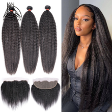 8-28 30 Inch Brazilian Hair Weave Kinky Straight Human Hair 3 4 Bundles With Lace Frontal Remy Hair Double Drawn Middle Ration