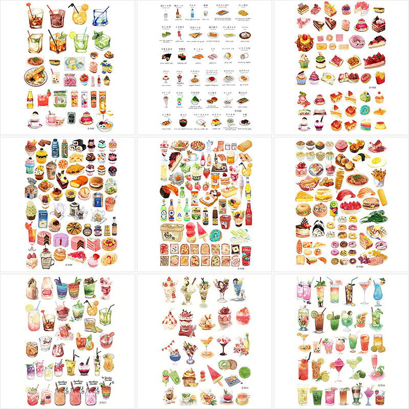 1Sheet Cute Drink Stationery Sticker Kawaii Foods Decor Sticker Bullet Journal Sticker For Kids Diy Scrapbooking Diary Album