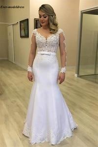 Image 2 - Женское свадебное платье с длинными рукавами, Элегантное свадебное платье в арабском стиле с кружевной аппликацией на пуговицах