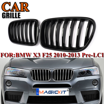 MagicKit 1 Pair Gloss Black Front Bumper Kidney Hood Grille Mesh For BMW X3 F25 X4 F26 SUV 2010-2014 ABS Replacement Car Styling f26 suv rear trunk lip genuine carbon fiber gloss black back wings spoiler for bmw x4 2014 xdrive20i xdrive28i xdrive35i