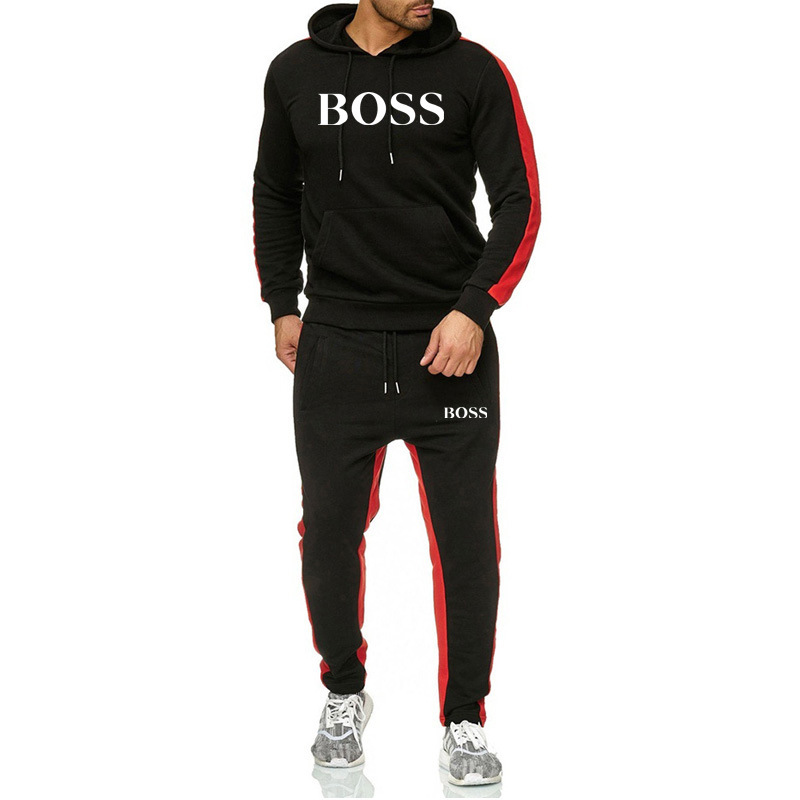Hot Sale Europe And The United States New Men's Hooded Printed Sweater BOSS Suit Casual Sports Suit Fleece Thickening Warm