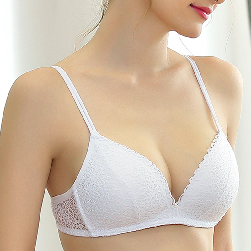 Womens Push Up Bra Sexy Triangle Brassiere Wire Free Lace Bra Bralette Lingerie Small Breast Adjusts Female Underwear A B C Cup 1