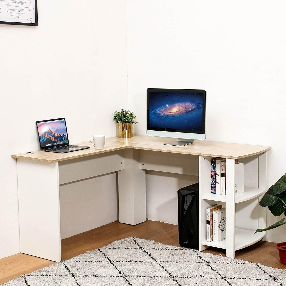 Wooden Computer Office Desk Writing Desk Home Gaming PC Furnitur L Shape Corner Study Computer Table With Book Shelf Laptop Desks    - AliExpress
