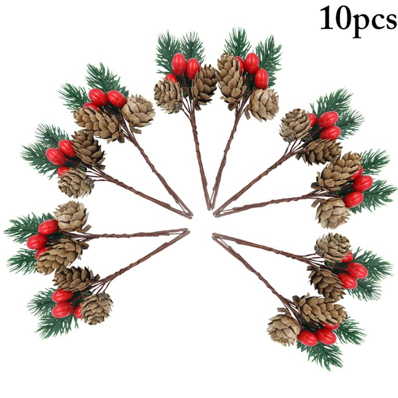 10pcs Christmas Pine Pick Berry Bell Pinecone Faux Pine Needle Branch Pine Twig Artificial Flower Holly Branches