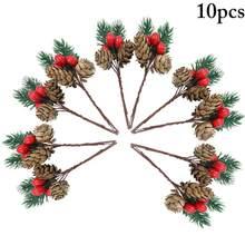 Pic de pin de noël, cloche de baies, pomme de pin, fausse aiguille, branche de pin, Branches de houx artificielles, 10 pièces