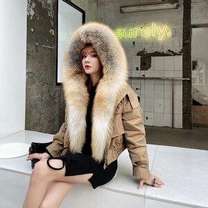 Image 3 - Abrigo de piel de zorro a la moda para mujer, forro desmontable, línea de piel de cordero de alta calidad, cazadora de estilo corto S7652