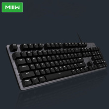 MIIIW Gaming Mechanical Keyboard 600K 104 Keys Red Switch USB Wired 6 Mode White LED Backlights Keyboard For Office Use