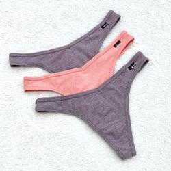 3Pcs/Lot V Waist Cotton G-String Thong Panties String Underwear Women Briefs Sexy Lingerie Pants Low-Rise Ladies Intimate T Back