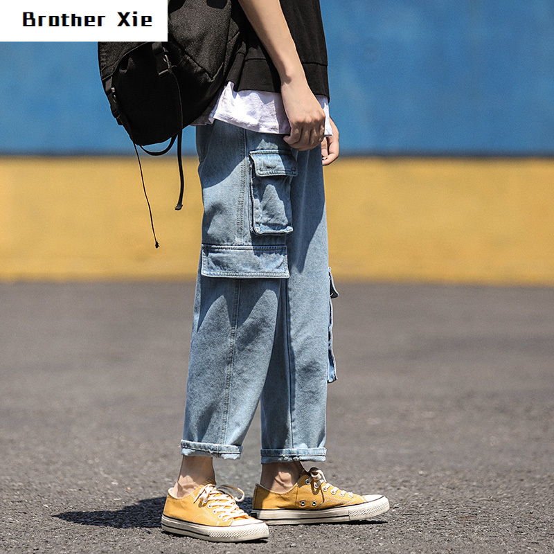 Autumn New Jeans Men Fashion Washed Solid Color Multi-pocket Tooling Denim Trousers Man Streetwear Wild Hip-hop Straight Jeans