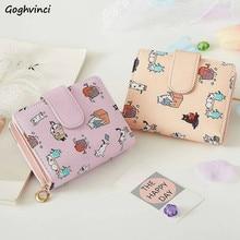 Billeteras con estampado de dibujos animados para mujer, Mini bolsas Kawaii rosas, monedero, tarjetero, moda para chicas, plegables, nuevas