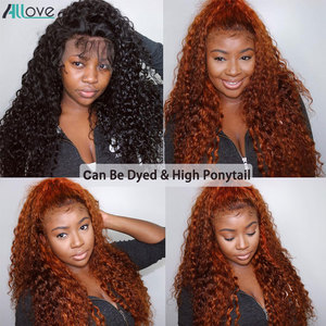 Image 4 - Allove Deep Wave Lace Front Wig Pre Plucked 13X4 Lace Front Human Hair Wigs For Women Malaysian Deep Curly Wig 13X6X1 Lace Wig