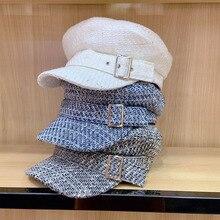 цена на Classical Plaid Tweed Winter Hat for Women Warm Visor Cap Belt Design Flat Military Cap Casual Beret Newsboy Hat Tartan Cabbie