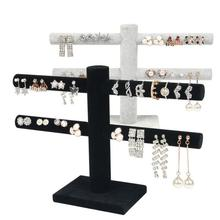 2 Tier T-Bar Velvet Jewelry Stand Earrings Necklaces Organizer Display Holder earrings necklace 2019 New A
