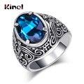 Популярные богемные кольца Kinel из синего стекла для женщин, кольца серебряного цвета с антикварным узором для мужчин, Винтажные Ювелирные и...