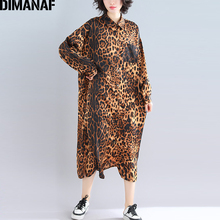 DIMANAF Plus Size Women Dress Autumn Fashion Leopard Big Female Lady Vestido Loose Long Sleeve Shirt Button Thin 2019