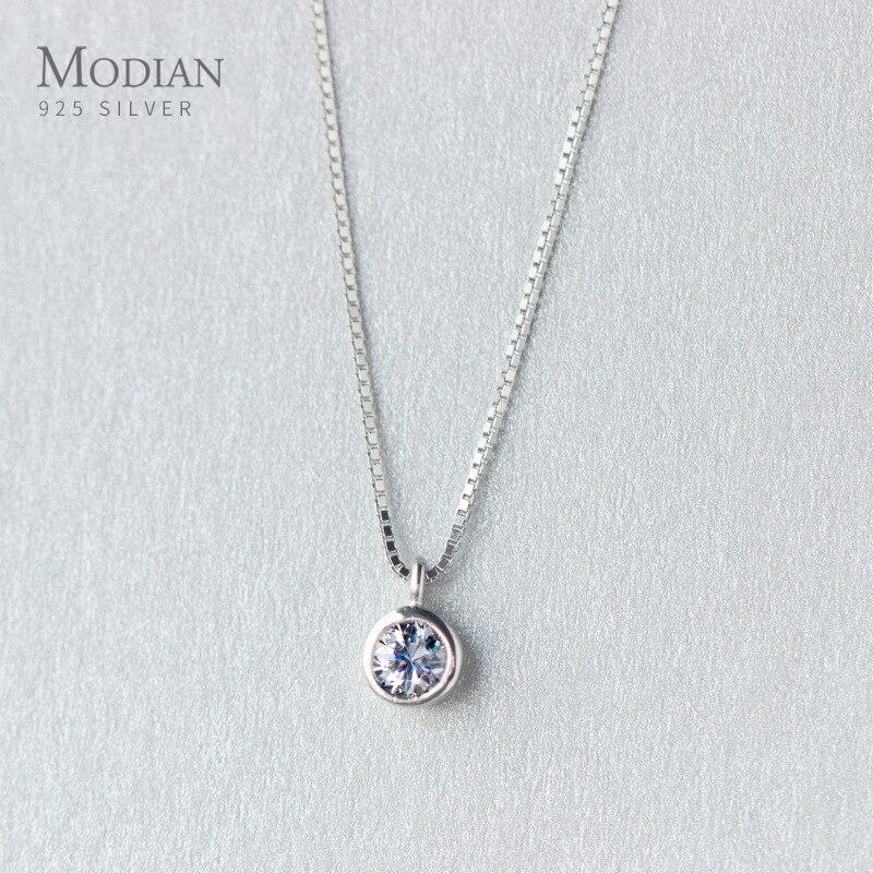 Modian, Геометрическая круглая Ослепительная Подвеска из стерлингового серебра 925 пробы, ожерелья для женщин, цепочка, модные свадебные ювелирные украшения, подарок|Ожерелья|   | АлиЭкспресс