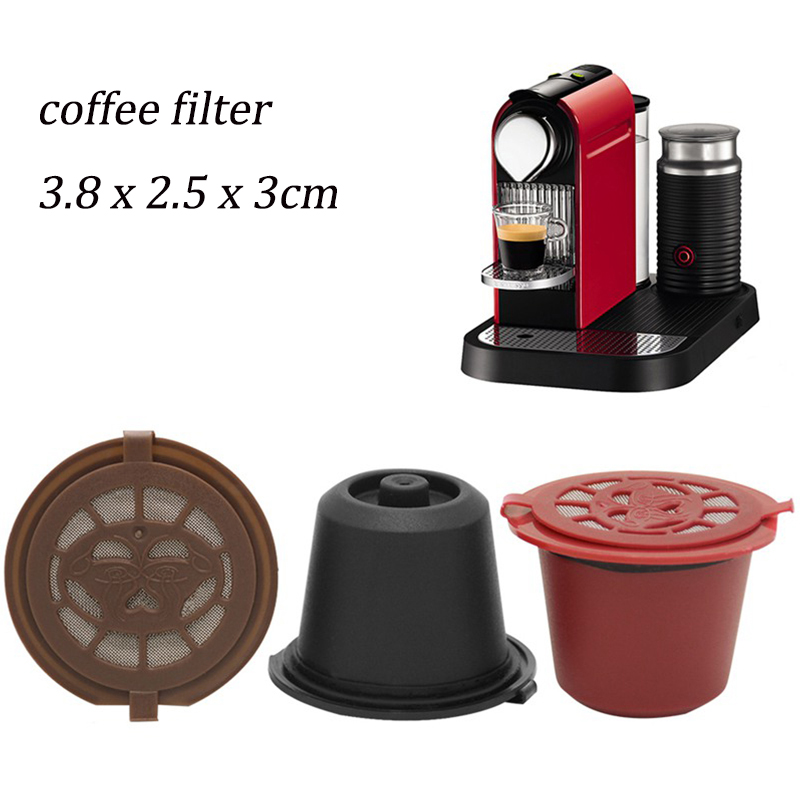 3 PCS Refillable Reusable Nespresso Coffee Capsule With 1PC Plastic Spoon Filter Pod 20ML Coffee Capsule Coffeeware Gift