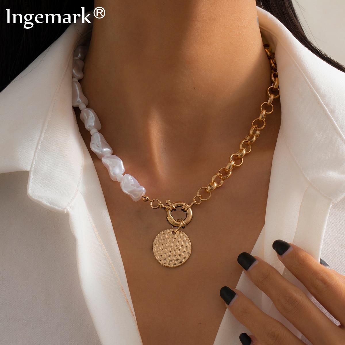 Gothique Baroque perle pièce pendentif collier ras du cou femmes mode déclaration Punk clavicule chaîne perlée mariage esthétique bijoux |