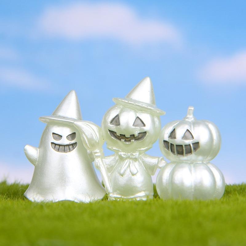 1Piece Luminous Pumpkin Ghost Resin Fairy Garden Miniature Figurines Halloween Decoration Accessories Micro Landscape Ornaments