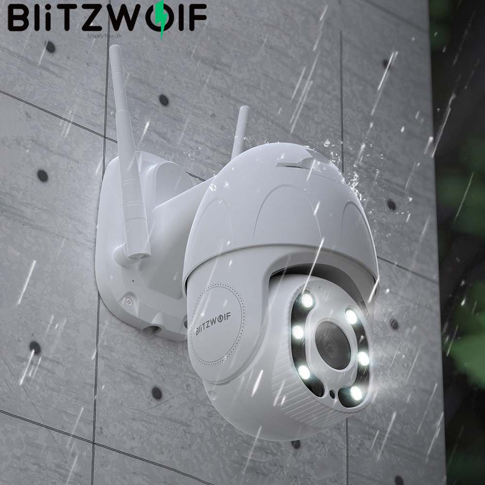 Blitzwolf 1080P Wifi IP Camera Outdoor Security PTZ Surveillance Camera Human Motion Recognition Night Vision Works with Alexa