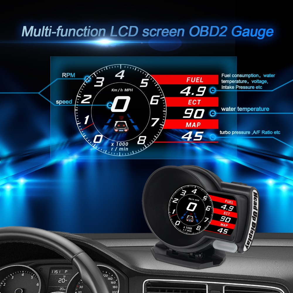 Image 4 - OBDHUD Car Electronics OBD2 Gauge   F8 Head Up Display Turbine Pressure OBD Multifunctional LCD Instrument for Automobile-in Head-up Display from Automobiles & Motorcycles