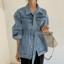 Lace-Up Collar Spring Denim Jacket Female Long-Sleeved EWQ Minimalist Solid Turn-Down