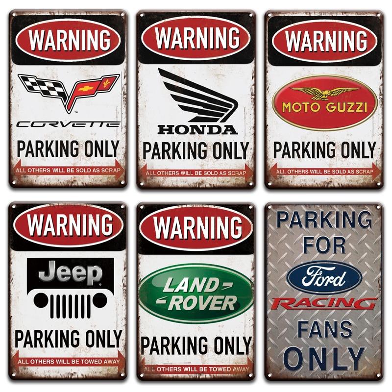 Vintage Warning Land Rover Ford Jeep Parking Only Metal Tin Sign Retro Parking Metal Poster Hanging Living Room Garage Decor