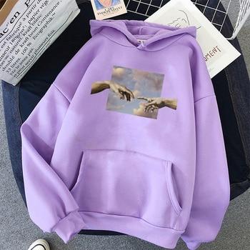 Hands print Oversized Womens hoodie Kawaii Loose Streetwear Sweatshirts Women Hooded Simple Pullovers Korean Style Warm 1
